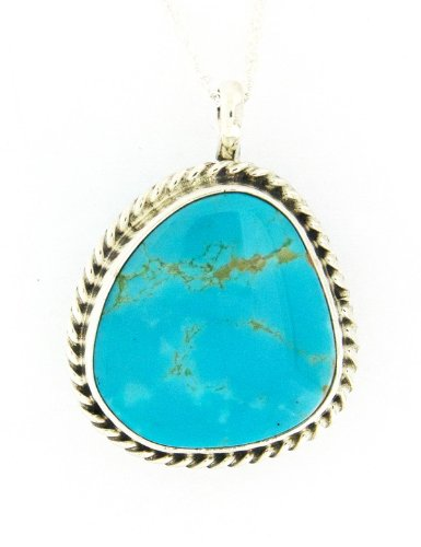 Necklace - Turquoise Pendant on Sterling Chain