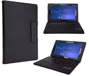 【タッチペン付き】【VSTN】Sony Xperia Z2 Tablet 専用 脱着式Bluetooth キーボード ケース一体型 良質PUレザーケース付き (ブラック)