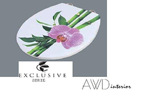 Exclusiver-Designer-WC-DECKEL-Toilettendeckel-ModellCONGA-BAMBUS-mit-Orchidee-mit-Absenkautomatik-EASY-Click-Funktion-NEUHEIT-MDF-Mae435x373cm-AWD02181158