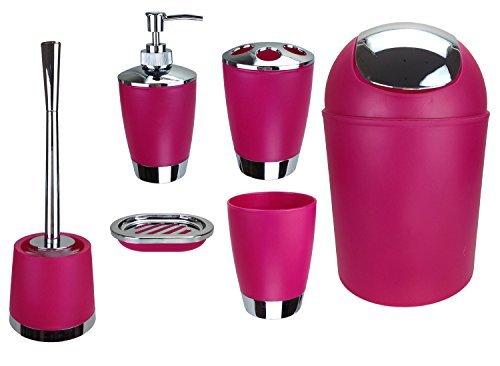 6tlg-BADSET-BADEZIMMER-ZUBEHR-SET-SEIFENSPENDER-HALTER-WC-BRSTE-BADGARNITUR-pink