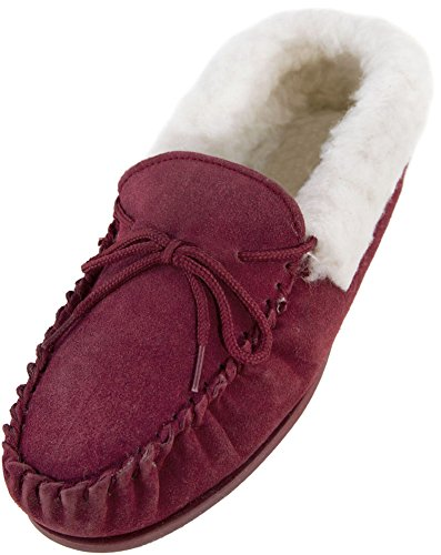 ladies-dark-pink-suede-moccasin-slippers-with-hard-sole-and-wool-cuff-size-8
