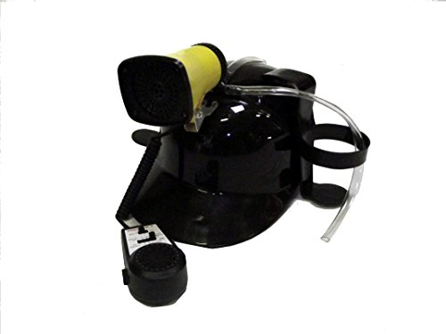 [Black Drinking Helmet with Mic and Siren 7 Different Sounds] (Beer Drinking Hat)