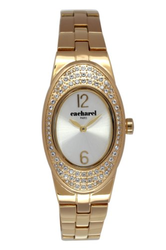 Cacharel-CLD 008S 1BM/Women's Quartz Analogue Watch-Steel Strap Silver Dial Gold Plated