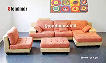 4pc Contemporary Khakis Orange Microfiber Sectional Sofa Chaise Chair Ottoman S504R