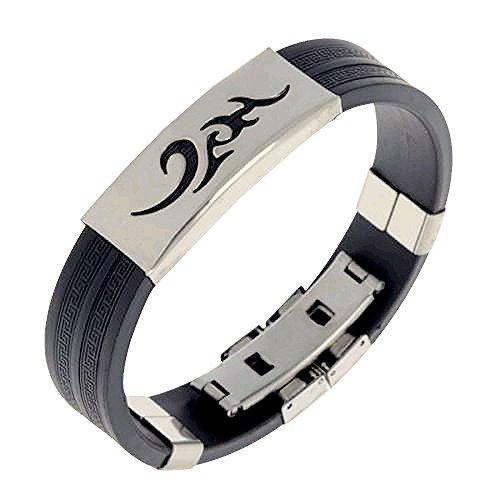 Contever® Bracciale Braccialetto Wristband in Silicone Regolabile Acciaio Inox per Gli Uomini - Nero