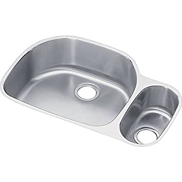 "Elkay ELUH3221RDBG 18 Gauge Stainless Steel 31.5313"" x 21.1406"" x 7.5"" Double Bowl Undermount Kitchen Sink Kit"