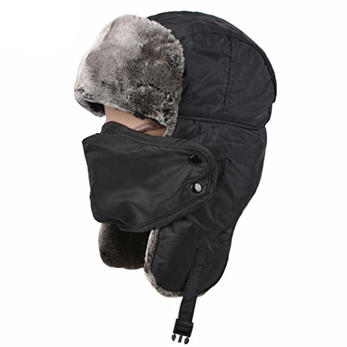 Sportown® Unisex Winter Ear Flap Hat Trooper, Trapper, Hunting Hat Ushanka (Black)