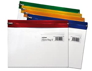 Snopake A5 255 x 190 mm Zippa Bag 'S' with Zip Strip - Transparent/Assorted (Pack of 5)