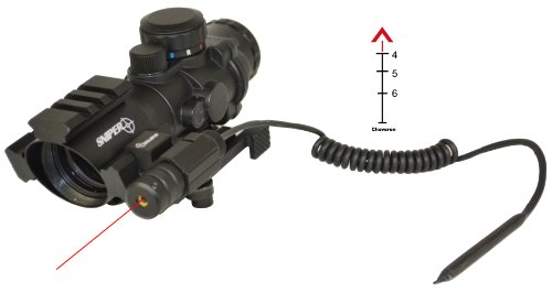 Tactical Prismatic Scope With Three Rail On Top And Two Side With Red Laser And Eched Chevron Reticle