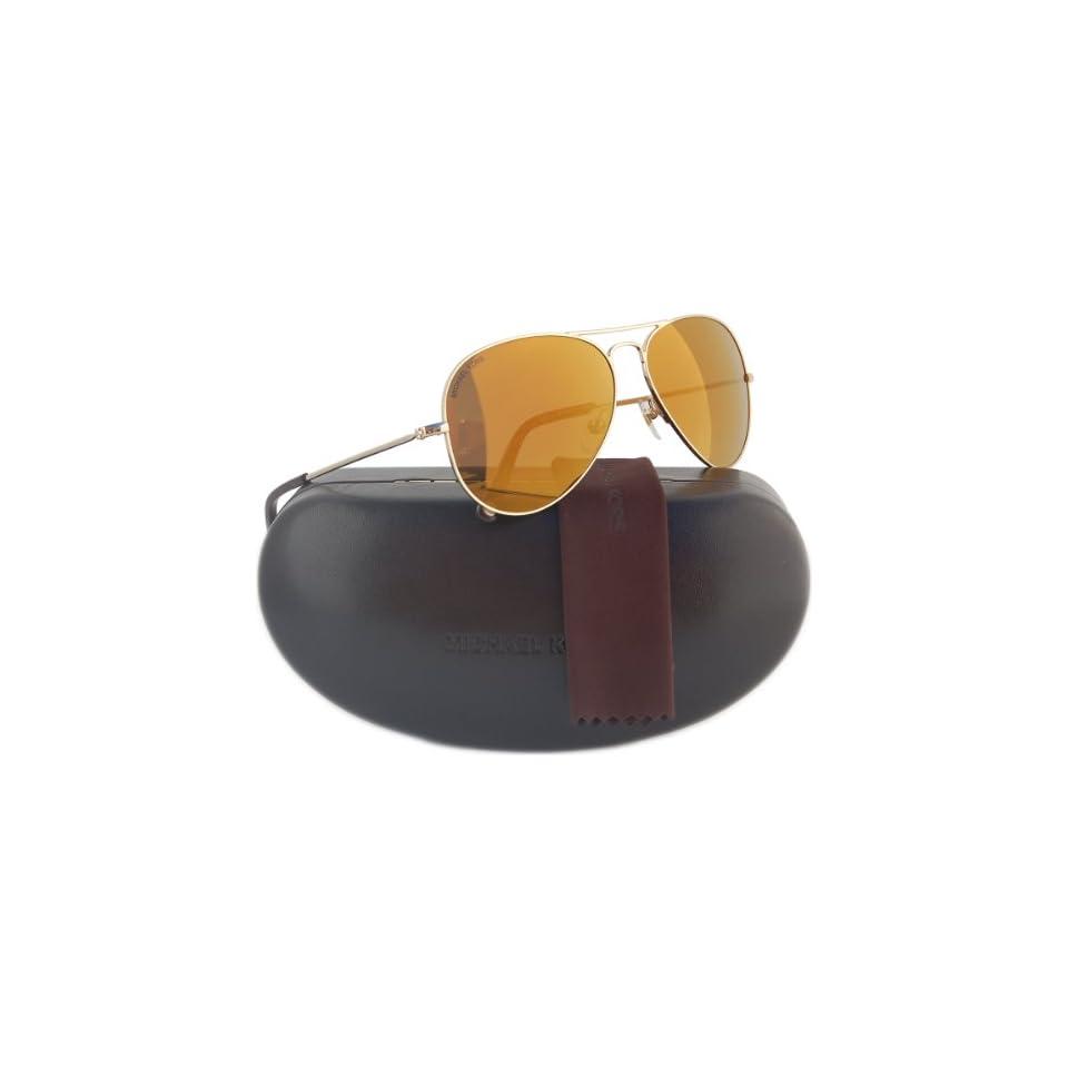 5fdee216e089 Michael Kors M2066S Dylan Aviator Sunglasses Gold w/Brown Mirror (717) MK  2066 58mm Clothing