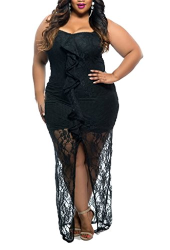 ZKESS Womens Strapless Open Front Lace Long Dress Plus Size XXX-Large Size Black