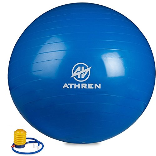 Exercise Ball with Foot Pump (GYM QUALITY FITNESS BALL) - 2000lbs Anti-burst - Also Known as: Fitness Ball - Yoga Ball - Swiss Ball - Multiple Colors and Sizes - (Blue, 55cm)