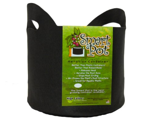 Smart Pots 7-Gallon Smart Pot Soft-Sided Container, Black with Cut handles