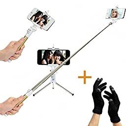 WISETIGER Wireless Selfie Stick with Tripods and Wireless Remote for iphone Android Gopro-Gold