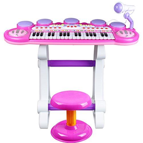 31ae90fec8b98 ... Izumin ピアノ椅子のセット 37キ 音楽玩具 マイク付き 椅子付き 子供練習用 ...