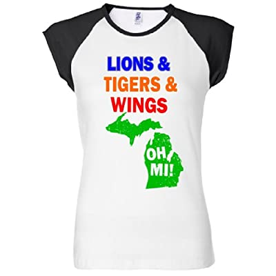 Lions Tigers Wings Oh MI Women's Raglan T-Shirt
