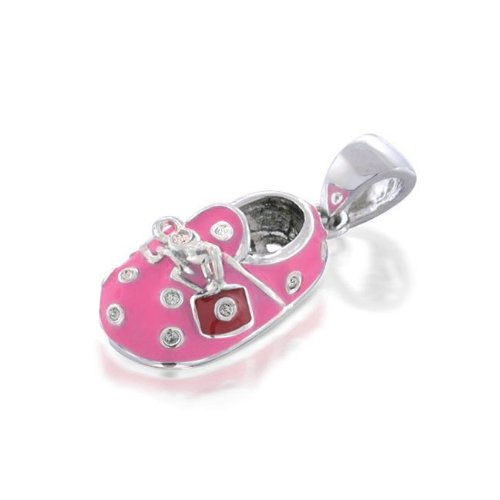 Bling Jewelry Pink Enamel Cz Baby Shoe Charm Pendant With Red Charm front-198129