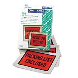 Full-Print Self-Adhesive Packing List Envelope, Orange, 5 1/2 x 4 1/2, 100/Box