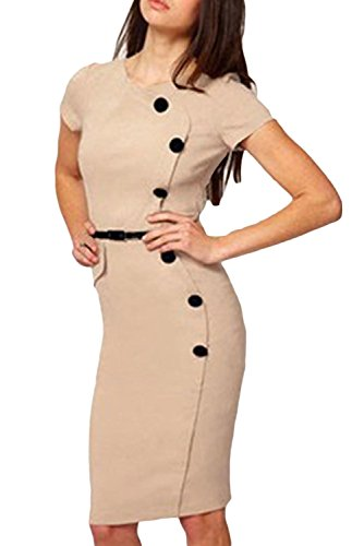 Casual Cap Sleeves Button Belt Decoration Apricot Midi Dress For Women Lc6410