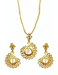 Kshitij Jewels Gold Moti Metal Pendant Jewellery Set For Women (KJ 062)