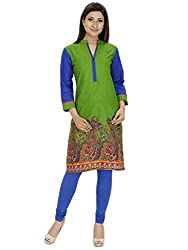 Tanvi Dark Green Cotton Straight Kurti For Women
