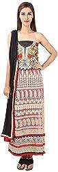 DESINER CLOTHLINE Women's Georgette Unstitched Dress Material (Cl-2, Red And Black)
