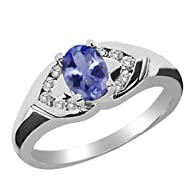 1.00 Ct Oval Blue Tanzanite White Dia…