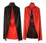 ハロウィン衣装大人子供コスプレ仮装変装ドラキュラマントフードなし赤黒リバーシブル黒単色(90cm,赤黒)
