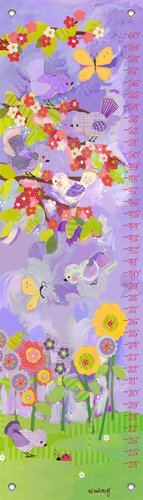 "Oopsy Daisy Cherry Blossom Birdies Growth Chart, Lavender and Coral, 12"" x 42"""