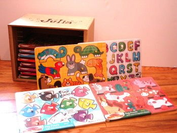 Picture of Fun Melissa & Doug Peg Puzzle Complete 12-Piece Set w/ Storage Case (B0036VC5L2) (Pegged Puzzles)