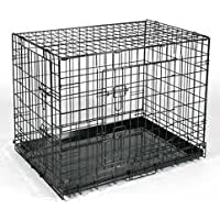 "Small Black, Fold Down Flat, Dog Cage,Two Door with Metal Tray,Crate, 24""x 17.5""x 20"" (62x44x52cm)"
