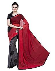 ISHIN Georgette Grey & Red Printed Saree