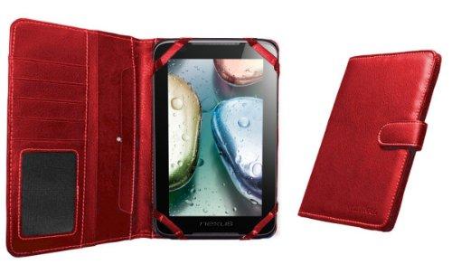 Navitech 7 Zoll bycast Leder flip Trage Case / Cover im Buch Stil für das Chiligreen E-Board HT400 (Chiligreen E-Board HT400, rot)