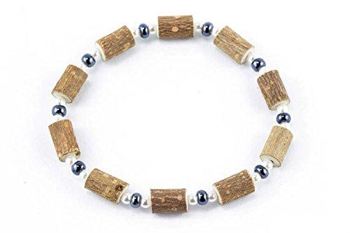 Healing Hazel Hazelwood Women/Teens Wrist Bracelet, Hematite/Pearls