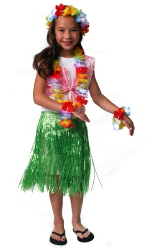 Dozen Girls Hawaiian Aloha Luau Party Pack Grass Skirts, Leis & Halter Tops