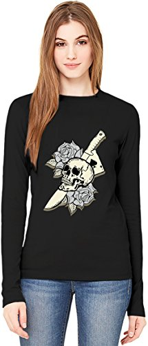 Knife skull T-Shirt da Donna a Maniche Lunghe Long-Sleeve T-shirt For Women| 100% Premium Cotton| DTG Printing| Large