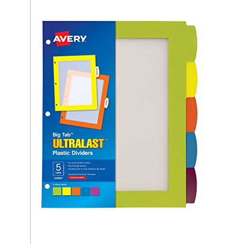 avery big tab ultralast plastic dividers 5 tab set 1 set 24900 hardware tools measuring. Black Bedroom Furniture Sets. Home Design Ideas