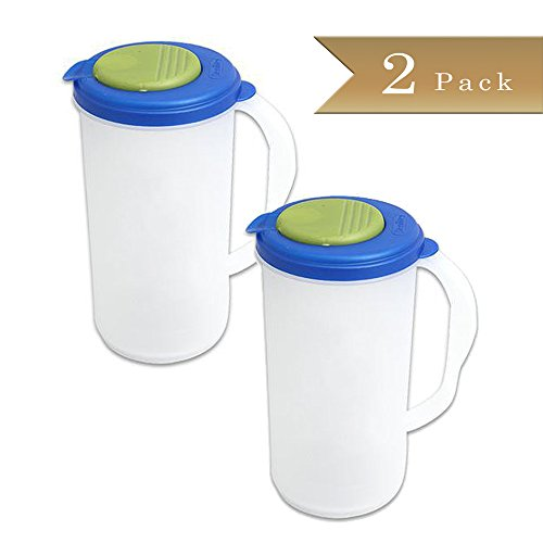 Set of 2 - Beverage Pitcher - 2 Quart - Green and Blue Accent Lid (Plastic Beverage Pitcher compare prices)