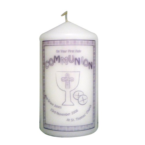 Grey First Holy Communion Candle. This is a great product that can be personalised to your requirements ( please see main discription for full details ) Ideal gifts and presents for weddings, Christenings, Birthdays, Christmas etc...