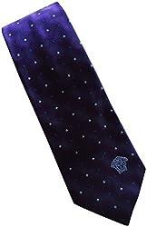 Versace Made In Italy Purple Geometric Pattened 100% Silk Men's Tie