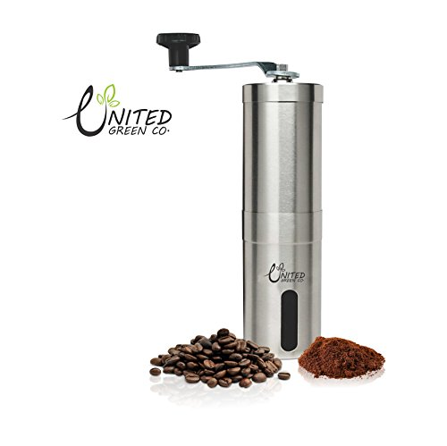 United Green Manual Coffee Grinder with Ceramic Burr, Portable Coffee Mill, Aeropress Compatible, Stainless Steel