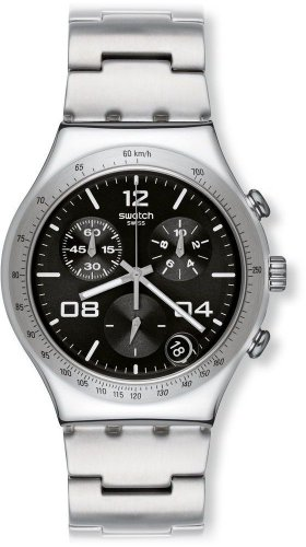 Swatch Men'S Irony Ycs564G Silver Stainless-Steel Swiss Quartz Watch With Black Dial