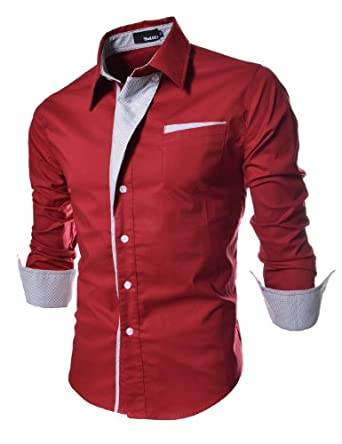 TheLees Mens Casual Long Sleeve Stripe Patched Fitted Dress Shirts Red Medium(US X-Small)