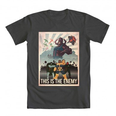 This Is The Enemy Marvel Villians T-Shirt (Small, Grey)