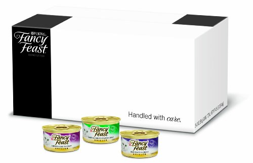 FFP Fancy Feast Gourmet Cat Food, 3-Flavor Grilled Variety Pack (Beef, Turkey & Chicken), 3-Ounce Cans (Pack of 24)