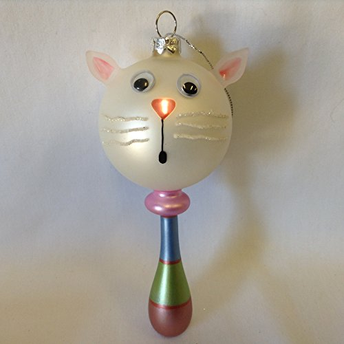 Baby Rattle Blown Glass Christmas Ornament - Cat