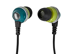 Monoprice Enhanced Bass Noise Isolating Earphones w/ Built-in Microphone and Play/Pause Control - Green
