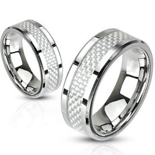STR-0031 Stainless Steel White Carbon Fiber Inlay Band Ring Size 5-14; Comes With Free Gift Box (12) (Carbon Fiber Stainless Steel Ring compare prices)