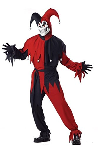 [Fancy Evil Jester Scary Skull Circus Clown Adult Costume - Red/Black] (Mens Evil Knight Costumes)