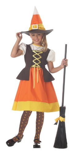 Child's Candy Corn Witch Costume Size Large (10-12)